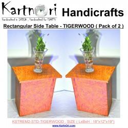 Set of 2 - KartnOri Rectangular Medium side table - TIGERWOOD