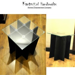 Handcrafted fold-able glass top side/center/coffee table(Medium , Blacksheep color)