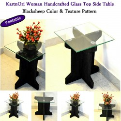 Foldable I Shape Glass Top Side Table Medium Blacksheep