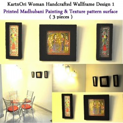 Handcrafted Wall-frame Set of Madhubani painting printed - 3 pieces