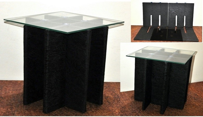 Foldable Multipurpose glass top side table - Small , Medium & Large